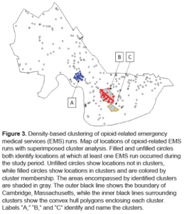 Figure 3 Map of locations of opioid related EMS runs with superimposed cluster analysis