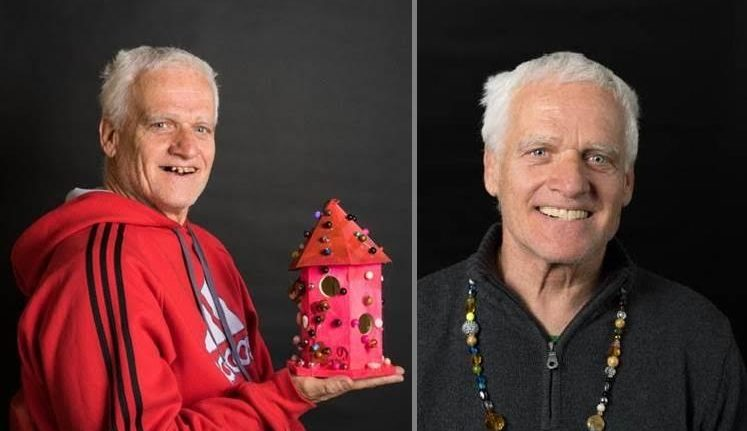 A split image with a man holding a red birdhouse and the same man smiling and wearing a beaded necklace