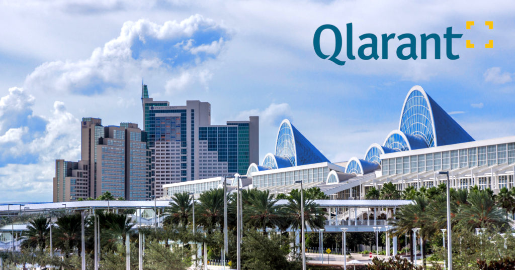 Orange County Convention Center in Orlando with Qlarant Logo