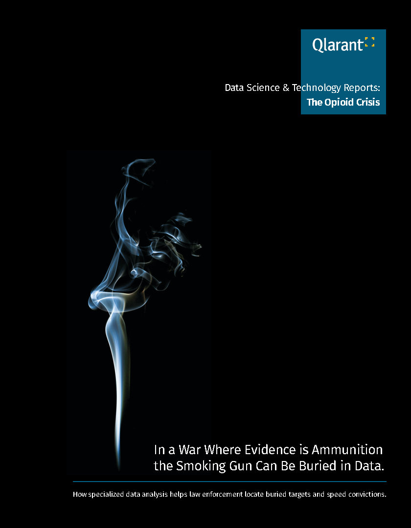 Cover of Opioid Crisis Report showing smoke rising over a black background