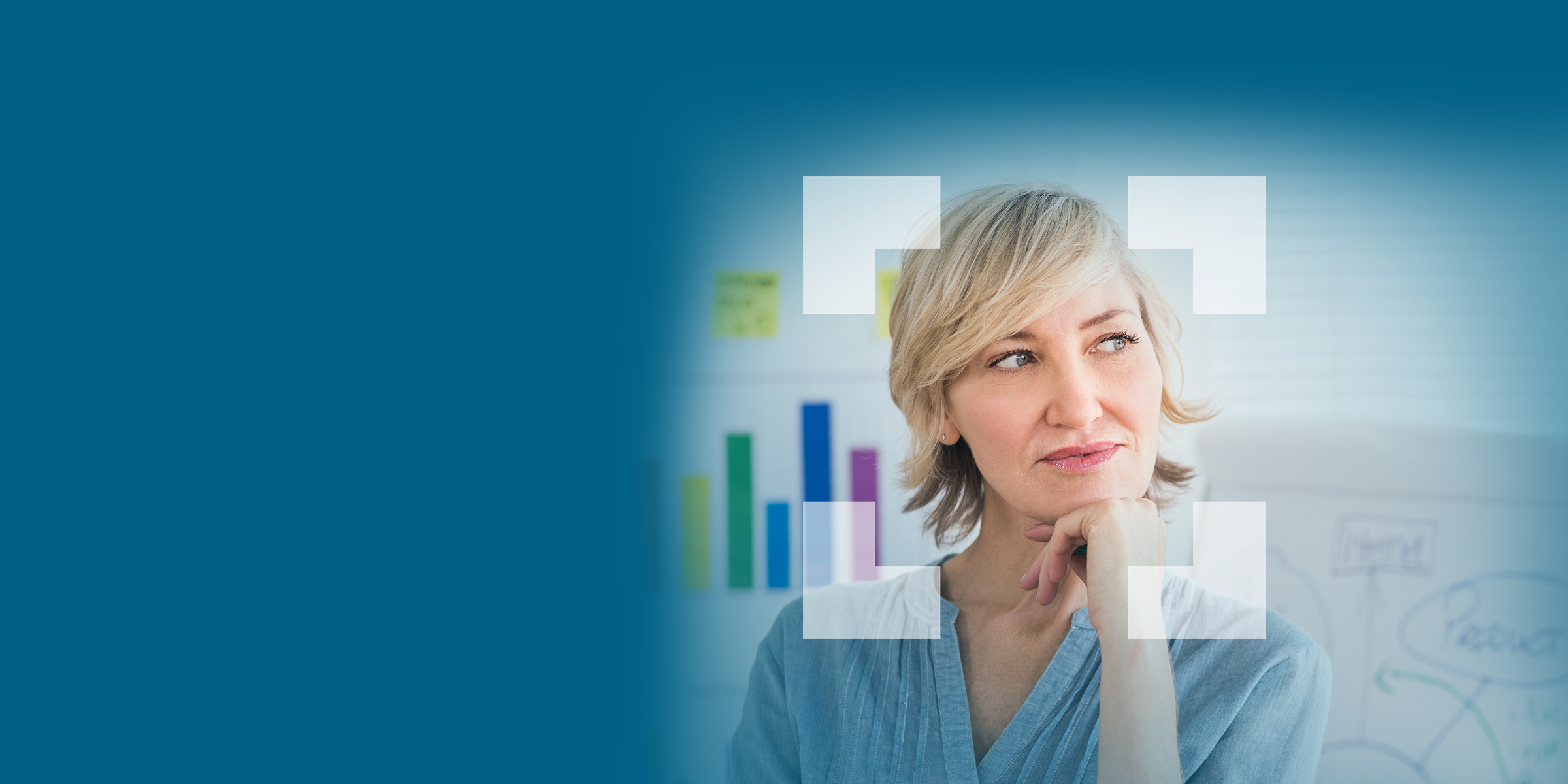 Woman pondering with hand on chin and colorful graph background