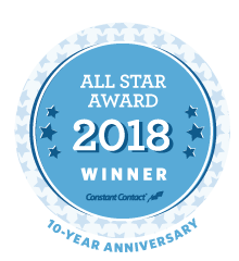 baby blue circle with all star award 2018 winner in white