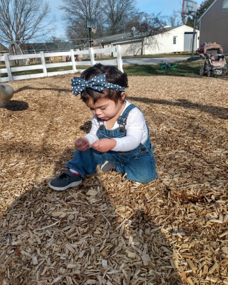 a toddler sits in leaves