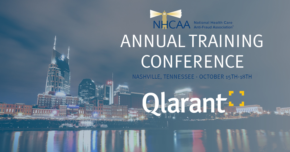 Nashville skyline with Qlarant, NHCAA logos and Annual Training Conference with dates Oct 15-17th overlaid