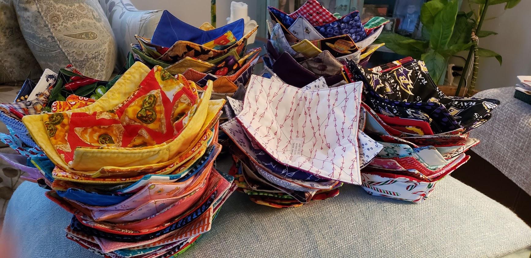 stacks of bowl cozies