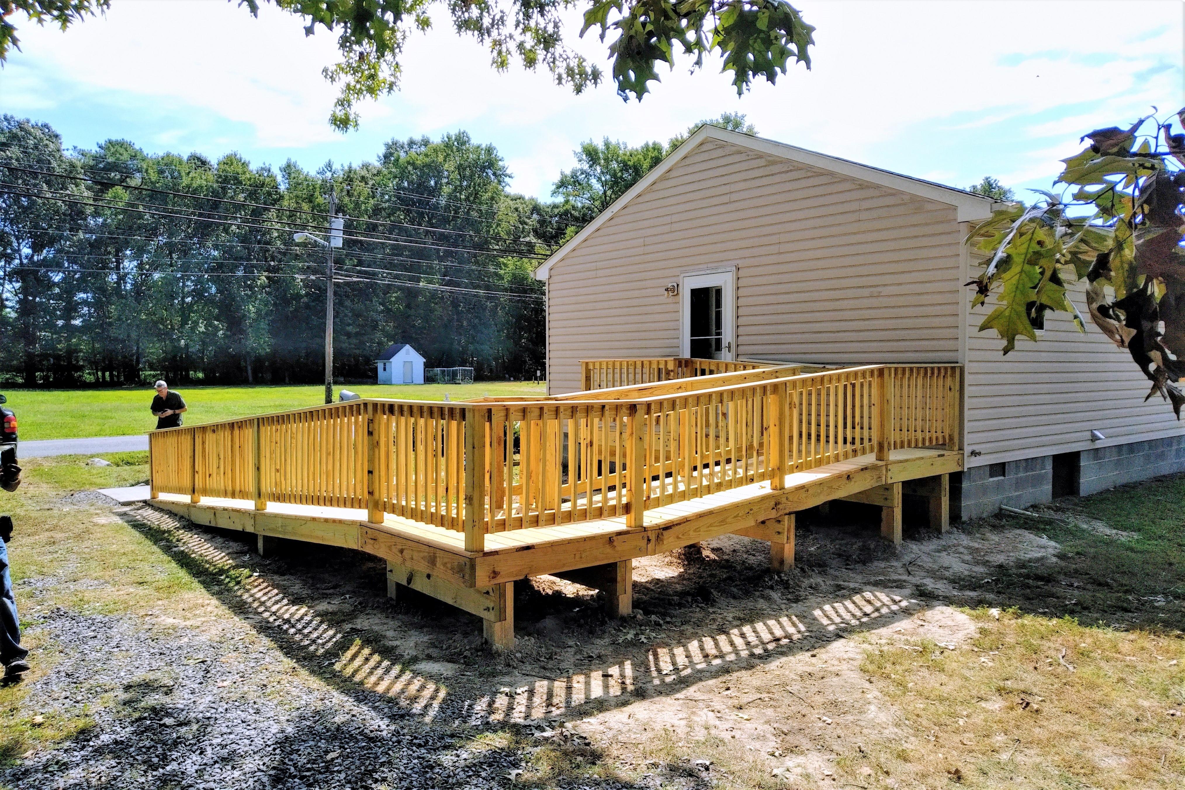 A newly built wooden ramp