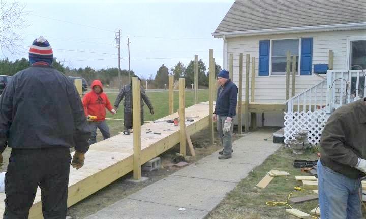 A ramp under construction