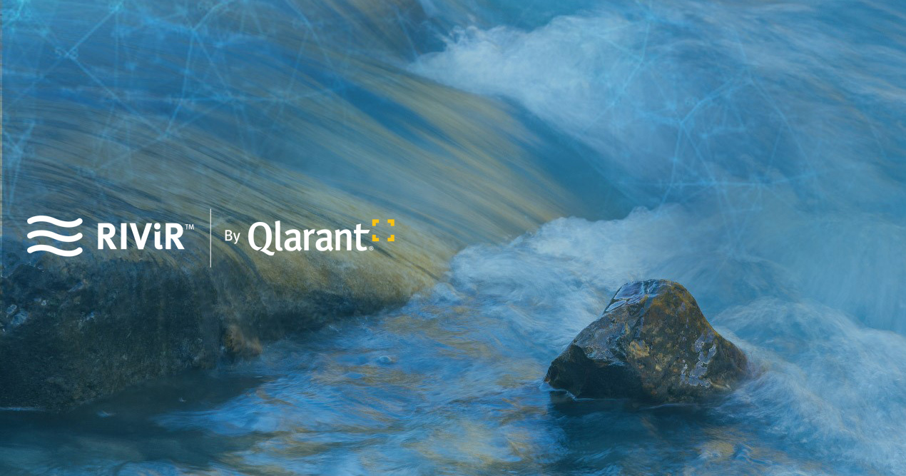 RIViR by Qlarant logo over an image of flowing water with rocks